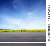 road and sun flowers field with ... | Shutterstock . vector #451193989