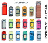 cars and trucks top view flat... | Shutterstock .eps vector #451196188
