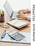close up of accountant or... | Shutterstock . vector #451199566