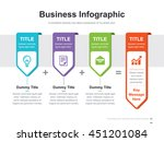 Flat business presentation vector slide template with arrow step process label diagram | Shutterstock vector #451201084