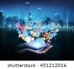 businesswoman connecting icons...   Shutterstock . vector #451212016