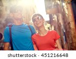 couple tourists walking in the... | Shutterstock . vector #451216648