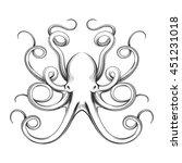 engraved octopus vector... | Shutterstock .eps vector #451231018