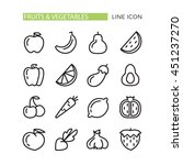 fruits and vegetables icons | Shutterstock .eps vector #451237270