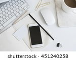 desktop workplace top view.... | Shutterstock . vector #451240258