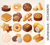 cookies and biscuits icons set. ... | Shutterstock .eps vector #451240690