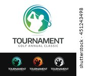 logo of a golfer in swing...   Shutterstock .eps vector #451243498