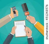 hands holding voice recorder ... | Shutterstock .eps vector #451243576