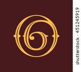 number six logo in vintage...   Shutterstock .eps vector #451245919