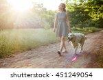 Stock photo girl walking dog in park 451249054