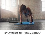 young muscular woman doing core ... | Shutterstock . vector #451265800