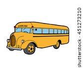School Bus. Dark Outline And...