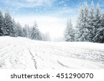 free place snow and trees of... | Shutterstock . vector #451290070