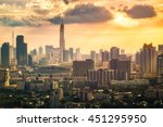 bangkok city at sunset  with... | Shutterstock . vector #451295950