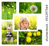 Small photo of Allergy season collage concept . Little baby boy has allergies from flower meadow.