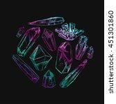 healing crystals. vector hand... | Shutterstock .eps vector #451301860