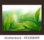 green tea leaf  | Shutterstock .eps vector #451308409