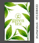 green tea leaf  | Shutterstock .eps vector #451308433