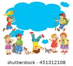 set of cute funny kids enjoying ... | Shutterstock . vector #451312108