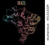 brazil map with states   vector ... | Shutterstock .eps vector #451313209