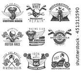 motorcycle black emblem set... | Shutterstock .eps vector #451313590