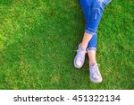 relaxing woman jeans and... | Shutterstock . vector #451322134