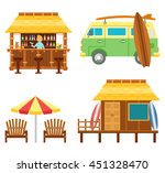 beach scene elements with bar ... | Shutterstock .eps vector #451328470