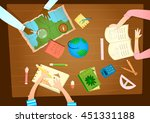back to school. children around ... | Shutterstock .eps vector #451331188