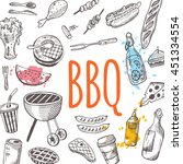 bbq card. hand drawn vector... | Shutterstock .eps vector #451334554