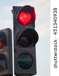 Small photo of Iceland: a traffic light with red heart shaped in the city of Akureyri on August 25, 2012