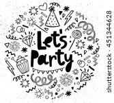 hand drawn  doodle  party set.... | Shutterstock .eps vector #451344628