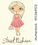 cute fashion stylish girl. | Shutterstock .eps vector #451364923