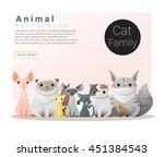 Stock vector cute animal family background with cats vector illustration 451384543