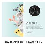 cute animal family background... | Shutterstock .eps vector #451384546