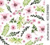 watercolor light pink flowers... | Shutterstock . vector #451389880