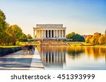 Stock photo lincoln memorial and pool in washington dc usa 451393999