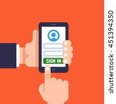 man hand holding smart phone.... | Shutterstock .eps vector #451394350
