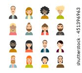 set of diverse avatars.... | Shutterstock .eps vector #451396963