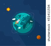 earth in space illustration ... | Shutterstock . vector #451411534