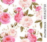 english roses seamless | Shutterstock .eps vector #451412710