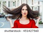sensual glamour portrait of... | Shutterstock . vector #451427560