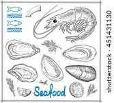 hand drawn seafood   Shutterstock .eps vector #451431130