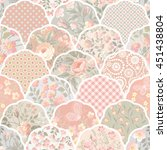 seamless floral patchwork... | Shutterstock .eps vector #451438804