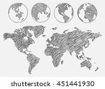 world map drawn. vector... | Shutterstock .eps vector #451441930