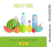 healthy food concept web banner.... | Shutterstock .eps vector #451443250