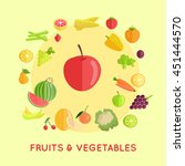 set of fruits and vegetables... | Shutterstock .eps vector #451444570