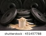 whey protein with iron plates | Shutterstock . vector #451457788