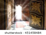 light rays from the old wooden... | Shutterstock . vector #451458484