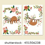 vector set of cute sloths on... | Shutterstock .eps vector #451506238