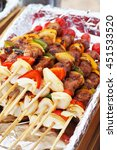 Small photo of grilled barbecue made from pork abd vegetable for dining, cooking